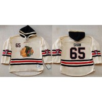 Blackhawks #65 Andrew Shaw Cream Heavyweight Pullover Hoodie Stitched NHL Jersey
