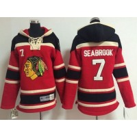Blackhawks #7 Brent Seabrook Red Sawyer Hooded Sweatshirt Stitched Youth NHL Jersey