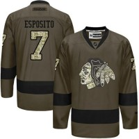 Blackhawks #7 Tony Esposito Green Salute to Service Stitched NHL Jersey