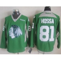 Blackhawks #81 Marian Hossa Green Practice Stitched NHL Jersey