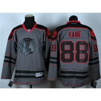 Blackhawks #88 Patrick Kane Charcoal Cross Check Fashion Stitched NHL Jersey