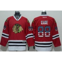 Blackhawks #88 Patrick Kane Red USA Flag Fashion Stitched NHL Jersey