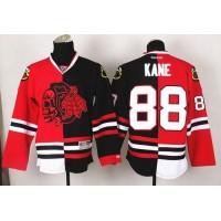 Blackhawks #88 Patrick Kane RedBlack Split Red Skull Stitched NHL Jersey