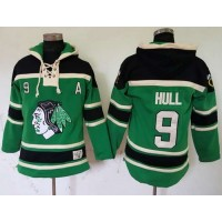 Blackhawks #9 Bobby Hull Green St. Patrick's Day McNary Lace Hoodie Stitched NHL Jersey