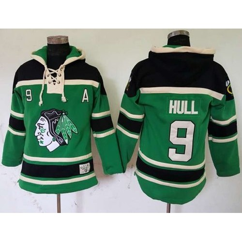 Blackhawks  9 Bobby Hull Green St. Patrick s Day McNary Lace Hoodie  Stitched NHL Jersey c1f146871