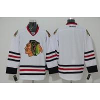 Blackhawks Blank Stitched White NHL Jersey