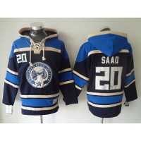 Blue Jackets #20 Brandon Saad Navy Blue Sawyer Hooded Sweatshirt Stitched NHL Jersey