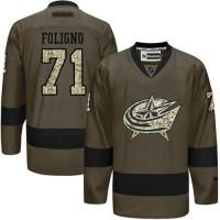 Blue Jackets #71 Nick Foligno Green Salute to Service Stitched NHL Jersey