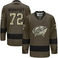 Blue Jackets #72 Sergei Bobrovsky Green Salute to Service Stitched NHL Jersey