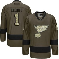 Blues #1 Brian Elliott Green Salute to Service Stitched NHL Jersey