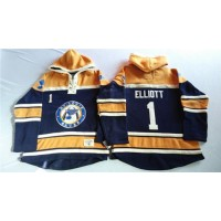 Blues #1 Brian Elliott Navy BlueGold Sawyer Hooded Sweatshirt Stitched NHL Jersey