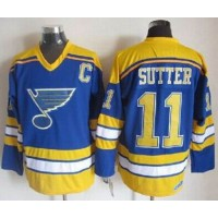 Blues #11 Brian Sutter Light BlueYellow CCM Throwback Stitched NHL Jersey