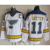Blues #11 Brian Sutter WhiteYellow CCM Throwback Stitched NHL Jersey