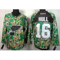 Blues #16 Brett Hull Camo Veterans Day Practice Stitched NHL Jersey