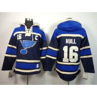 Blues #16 Brett Hull Navy Blue Sawyer Hooded Sweatshirt Stitched NHL Jersey