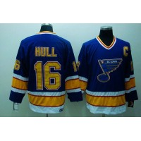 Blues #16 Brett Hull Stitched Blue CCM Throwback NHL Jersey