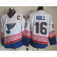 Blues #16 Brett Hull WhiteLight Blue CCM Throwback Stitched NHL Jersey