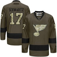 Blues #17 Jaden Schwartz Green Salute to Service Stitched NHL Jersey