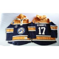Blues #17 Jaden Schwartz Navy BlueGold Sawyer Hooded Sweatshirt Stitched NHL Jersey