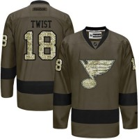 Blues #18 Tony Twist Green Salute to Service Stitched NHL Jersey