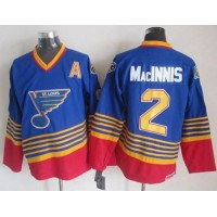 Blues #2 Al MacInnis Light BlueRed CCM Throwback Stitched NHL Jersey