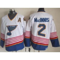 Blues #2 Al MacInnis WhiteLight Blue CCM Throwback Stitched NHL Jersey