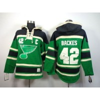 Blues #42 David Backes Green St. Patrick's Day McNary Lace Hoodie Stitched NHL Jersey