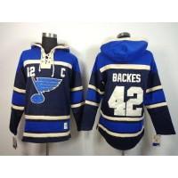 Blues #42 David Backes Navy Blue Sawyer Hooded Sweatshirt Stitched NHL Jersey