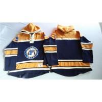 Blues Blank Navy BlueGold Sawyer Hooded Sweatshirt Stitched NHL Jersey