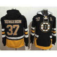Boston Bruins #37 Patrice Bergeron Black Name & Number Pullover NHL Hoodie