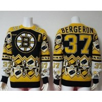 Boston Bruins #37 Patrice Bergeron YellowBlack Men's NHL Ugly Sweater