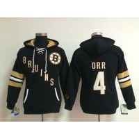 Boston Bruins #4 Bobby Orr Black Women's Old Time Heidi NHL Hoodie