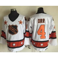 Boston Bruins #4 Bobby Orr White Orange All Star CCM Throwback Stitched NHL Jersey