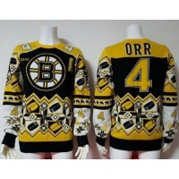 Boston Bruins #4 Bobby Orr Yellow Black Men's NHL Ugly Sweater Cheap Jerseys