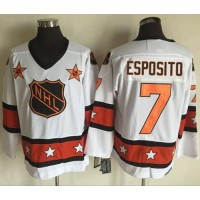 Boston Bruins #7 Phil Esposito White Orange All Star CCM Throwback Stitched NHL Jersey