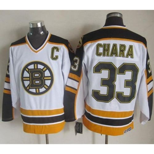 6f01b7f3e Bruins  33 Zdeno Chara WhiteBlack CCM Throwback Stitched NHL Jersey
