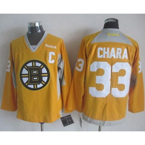 Bruins  33 Zdeno Chara Yellow Practice Stitched NHL Jersey bcef1d0c1