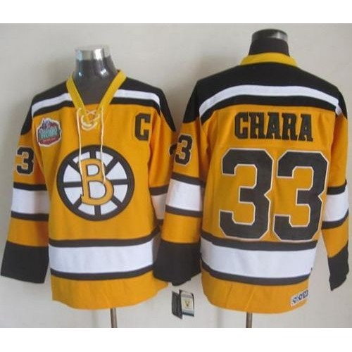 f7a1bfac5 Bruins  33 Zdeno Chara Yellow Winter Classic CCM Throwback Stitched NHL  Jersey