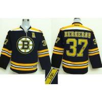 Bruins #37 Patrice Bergeron Black Autographed Stitched NHL Jersey