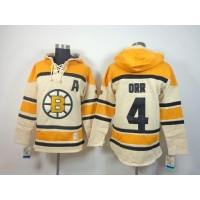 Bruins #4 Bobby Orr Cream Sawyer Hooded Sweatshirt Stitched NHL Jersey