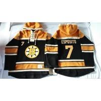Bruins #7 Phil Esposito Black Sawyer Hooded Sweatshirt Stitched NHL Jersey