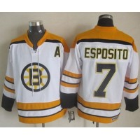 Bruins #7 Phil Esposito White CCM Throwback Stitched NHL Jersey