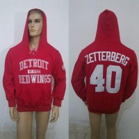 CCM Detroit Red Wings #40 Henrik Zetterberg Red Lace Up Hoodie