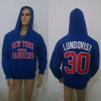 CCM New York Rangers #30 Henrik Lundqvist Blue Lace Up Hoodie
