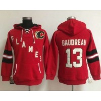 Calgary Flames #13 Johnny Gaudreau Red Women's Old Time Heidi NHL Hoodie