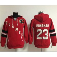 Calgary Flames #23 Sean Monahan Red Women's Old Time Heidi NHL Hoodie