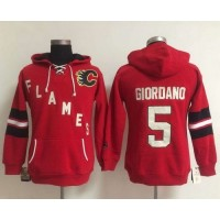 Calgary Flames #5 Mark Giordano Red Women's Old Time Heidi NHL Hoodie
