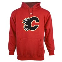 Calgary Flames Old Time Hockey Big Logo with Crest Pullover Hoodie Red