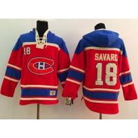 Canadiens #18 Serge Savard Red Sawyer Hooded Sweatshirt Stitched NHL Jersey