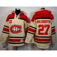 Canadiens #27 Alex Galchenyuk Cream Sawyer Hooded Sweatshirt Stitched NHL Jersey